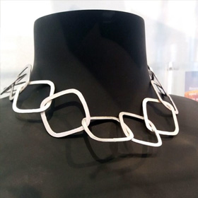 Silver Square Link Necklace