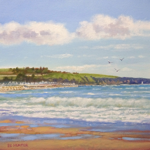 Beach Stonehaven, oil painting by Ed Hunter, Milton Art Gallery