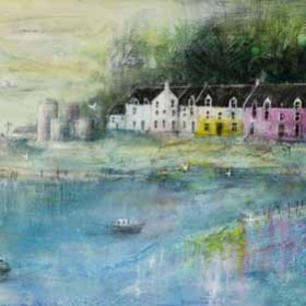 Painted Houses Portree Mixed Media by Kanita Sim