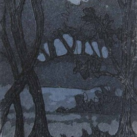 Dark copse aquatint etching by Kitty Watt