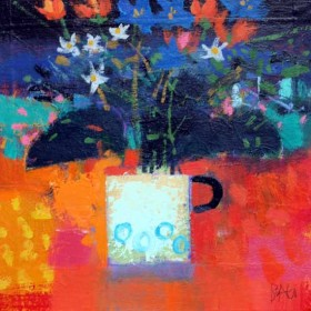 White Mug and Orange Flowers by Francis Boag