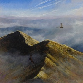 Eagles over Sghur Fiona, oil painting by Chris Sharp