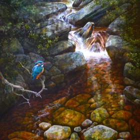 Kingfisher oil painting by Chris Sharp
