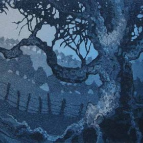 Gnarled tree aquatint etching by Kitty Watt