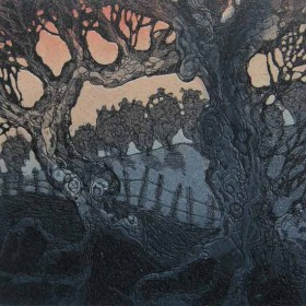 Two Trees aquatint etching by Kitty Watt
