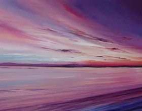 Sunset Loch Tay, oil painting by Allison Young